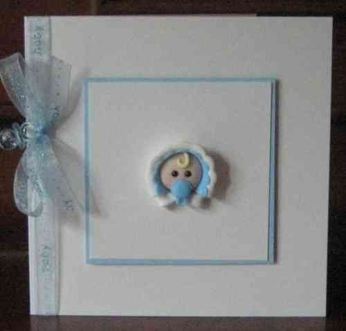 Handmade New Baby Boy Card - Baby Face
