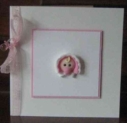Handmade New Baby Girl Card - Baby Face