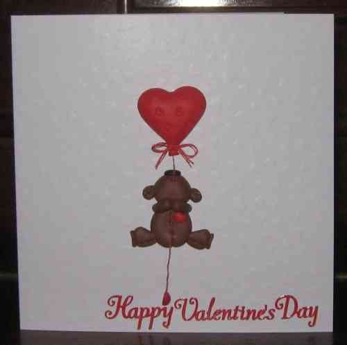 Handmade Valentine Card Fimo Teddy with Balloon