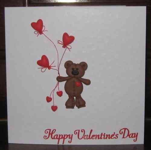 Handmade Valentine Card Fimo Teddy with Balloons