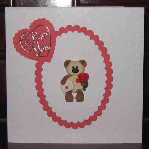 Handmade Valentine Card Fimo Teddy with Rose