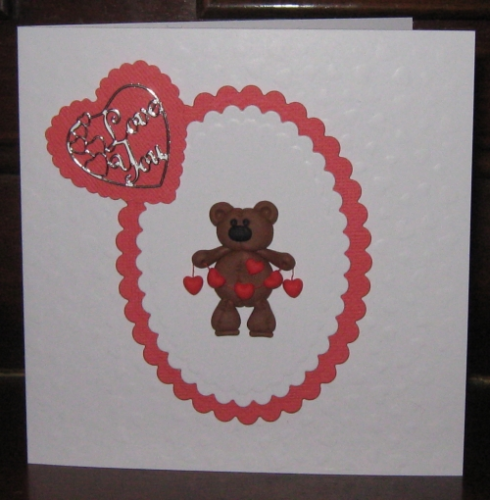 Handmade Valentine Card Fimo Teddy with String of Hearts