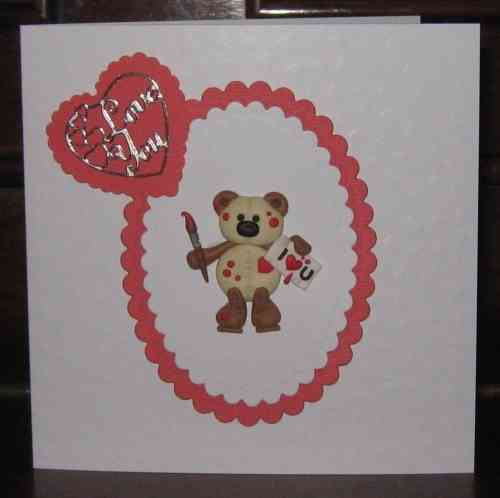 Handmade Valentine Card Fimo Teddy Painting Hearts