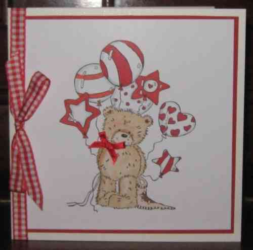 Handmade Valentine Card Popcorn the Bear