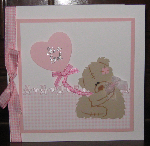 Luxury Handmade Card New Baby Girl - Tatty Teddy with Balloon