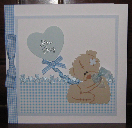 Luxury Handmade Card New Baby Boy Card - Tatty Teddy with Balloon