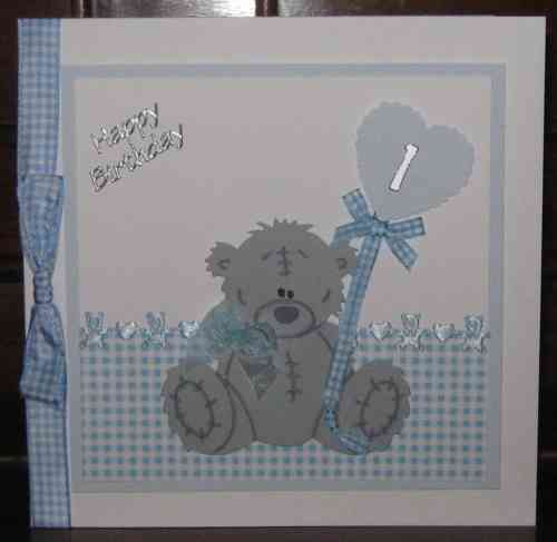 Luxury Handmade Card New Baby Boy - Scruffy Teddy with Balloon