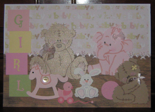 Luxury Handmade Card New Baby Girl - Nursery Shelf