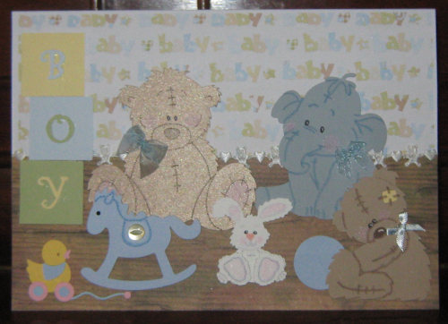 Luxury Handmade Card New Baby Boy - Nursery Shelf