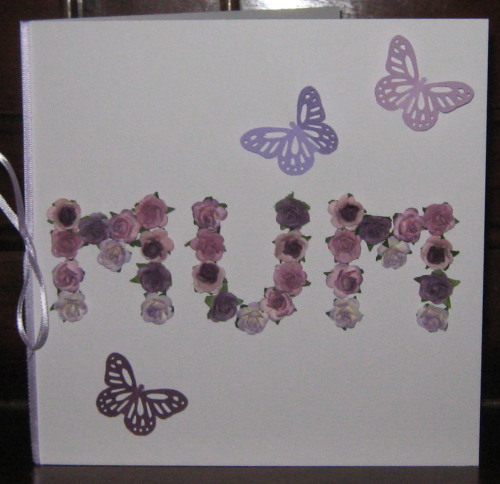 "Luxury Handmade Mother's Day Card - Lilac Mulberry Rose ""MUM"""
