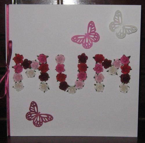 "Luxury Handmade Mother's Day Card - Pink Mulberry Rose ""MUM"""