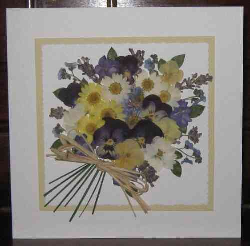 Handmade Mother's Day/Birthday Card Flower Bouquet - Purple/Yellow