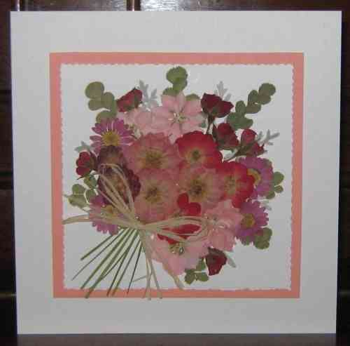 Handmade Mothers Day Birthday Card Flower Bouquet