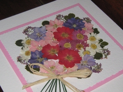 Handmade Mothers DayBirthday Card Flower Bouquet PinkLilac