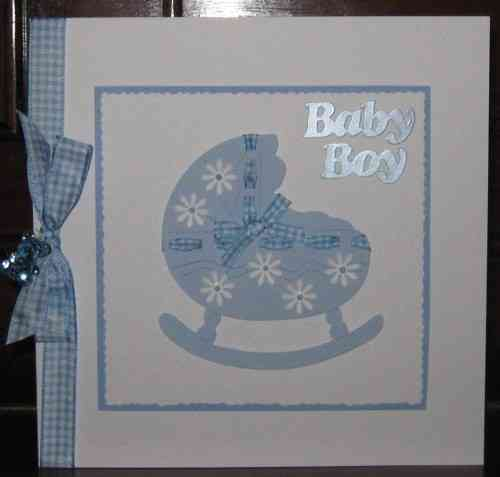 Luxury Handmade Card New Baby Boy - Crib