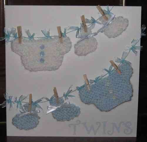 Luxury Handmade Card New Twins - Knitted Baby Boy Clothes