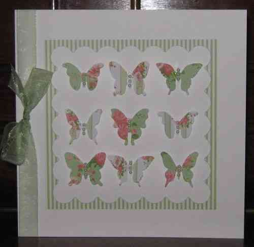 Luxury Handmade Card - Vintage Butterflies Green