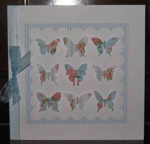 Luxury Handmade Card - Vintage Butterflies Blue