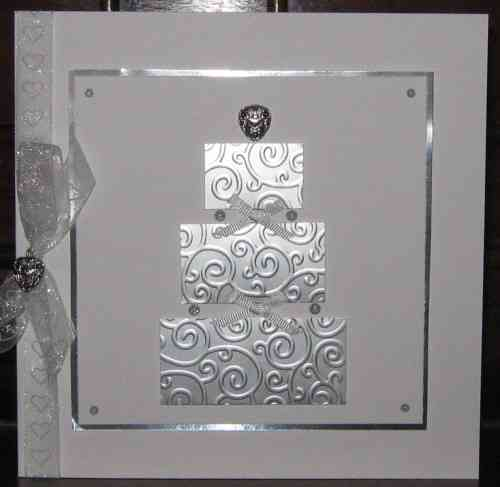 Luxury Handmade Wedding Card - Wedding Cake Brushed Silver