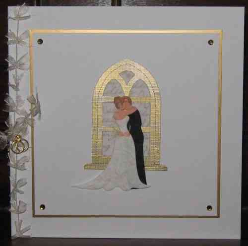 Luxury Handmade Wedding Card - Kissing Couple Gold