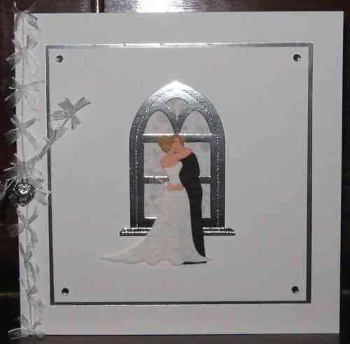 Luxury Handmade Wedding Card - Kissing Couple Silver