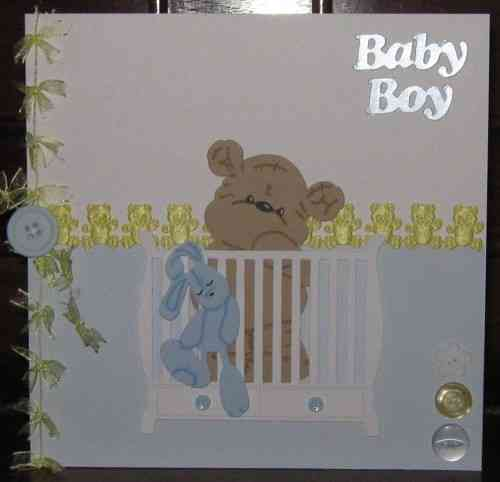 Luxury Handmade Card New Baby Boy - Baby Teddy in Cot