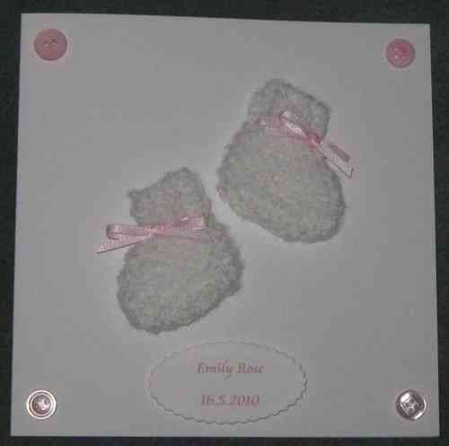Personalised Handmade Card - Knitted Baby Girl Booties