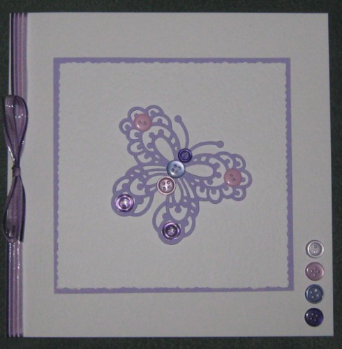 Luxury Handmade Card - Buttonfly Lilac