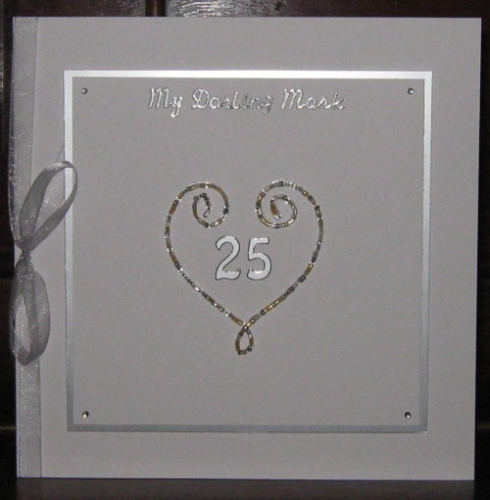 Handmade Anniversary Card - Beaded Wire Heart Large - Silver