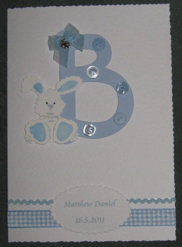 "Handmade Card New Baby Boy - ""B"" is for Baby"