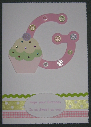 Personalised Handmade Initial Birthday Card - Cupcake
