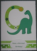 Personalised Handmade Initial Birthday Card - Dinosaur