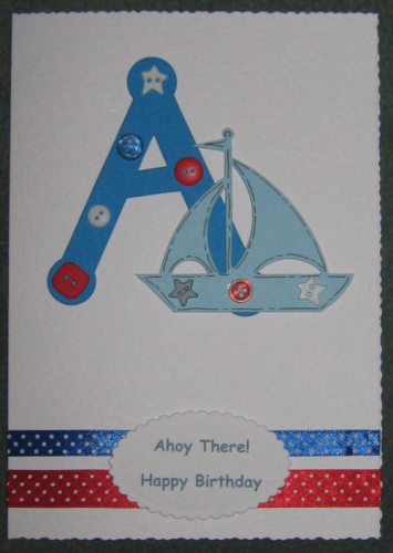 Personalised Handmade Initial Birthday Card - Boat