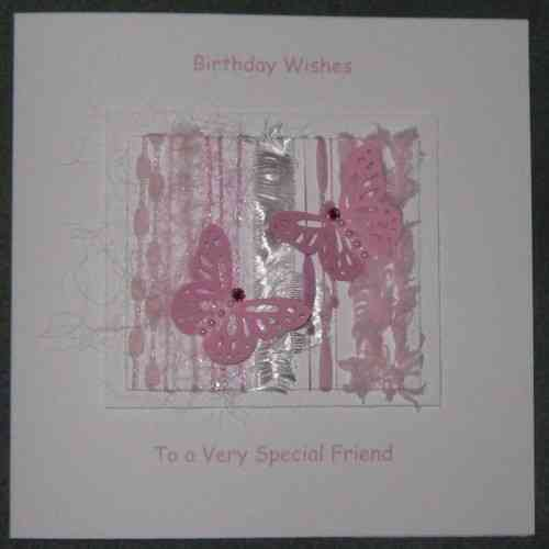 Personalised Handmade Birthday Card - Rose Pink Butterflies