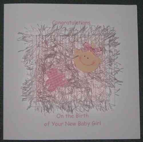 Personalised Handmade New Baby Girl Card - Baby Face