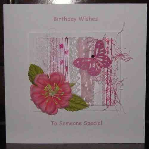 Personalised Handmade Birthday Card - Pink Rose