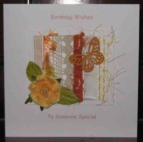 Personalised Handmade Birthday Card - Apricot Rose