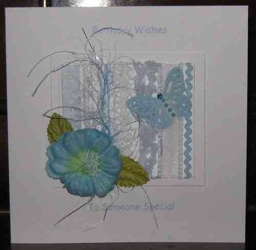 Personalised Handmade Birthday Card - Pale Blue Rose