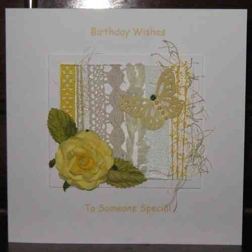 Personalised Handmade Birthday Card - Yellow Rose