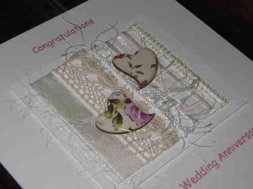 Personalised Handmade Anniversary Card - Chintz Hearts