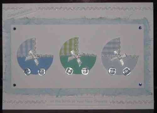 Handmade New Triplets Card - Prams