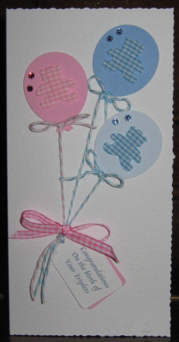 Handmade New Triplets Card - Balloons