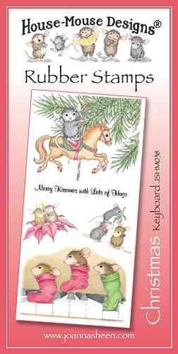 House Mouse Design Unmounted Rubber Stamp Set Christmas - Keyboard