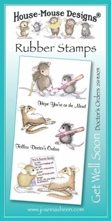 House Mouse Design Unmounted Rubber Stamp Set Get Well Soon - Doctors Orders