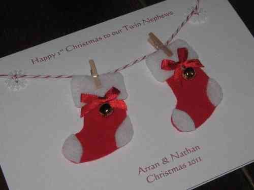 Personalised Handmade Christmas Card - Twins 1st Christmas