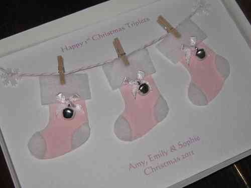 Personalised Handmade Christmas Card - Triplets 1st Christmas