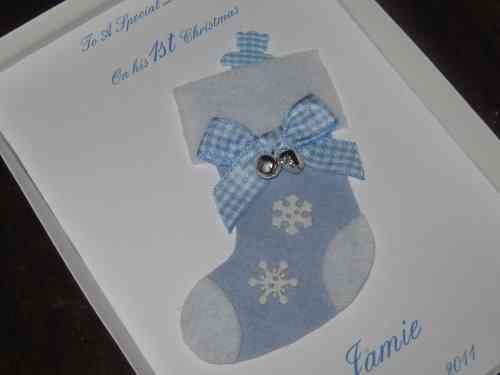 Personalised Handmade Christmas Card - Baby Boy's 1st Christmas Stocking
