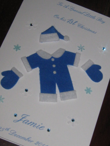 Personalised Handmade Christmas Card - Baby Boy's 1st Christmas