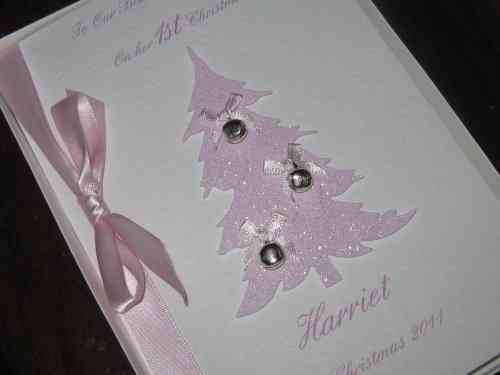 Personalised Handmade Christmas Card - Baby Girl's 1st Christmas Tree