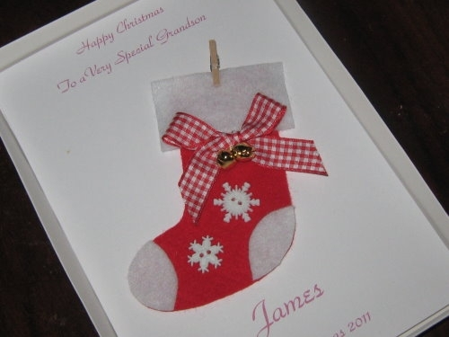 Personalised Handmade Christmas Card Christmas Stocking Windrush